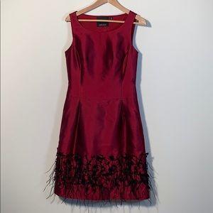 Red Silk Cocktail dress w/ embellished hem